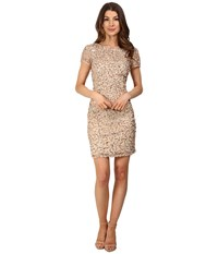 Adrianna Papell Short Sleeve Beaded Cocktail Dress Champagne Silver Women's Dress