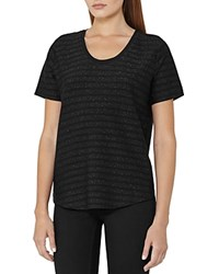 Reiss Alvie Metallic Stripe Tee Black