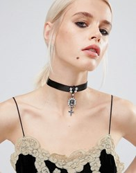 Asos Halloween Statement Cross Choker Necklace Black