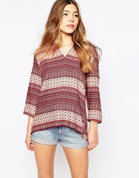 Only Printed Tunic Top Red