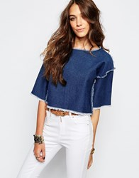 First And I Freyed Denim Crop Top Blue