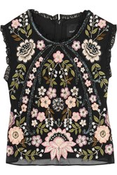 Needle And Thread Cropped Embellished Chiffon Top Black