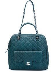 Chanel Vintage 'Paradoxal' Quilted Bowling Bag Blue
