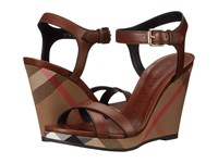 Burberry Rastrickson Dark Tan Women's Wedge Shoes Brown