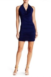 Go Couture Halter Neck Ruched Dress Blue