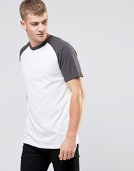 New Look Short Sleeve Raglan T Shirt In Charcoal And White Charcoal White Black