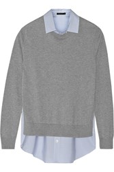 Theory Deverlyn Paneled Cotton And Cashmere Blend Top Gray