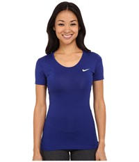 Nike Pro Cool Short Sleeve Shirt Deep Royal Blue White Women's Short Sleeve Pullover