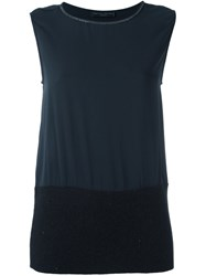 Fabiana Filippi Contrast Panel Sleeveless Blouse Black