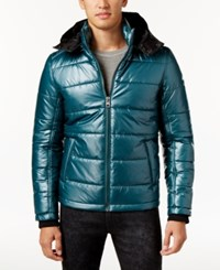Guess Men's Triton Puffer Coat Deep Teal Multi