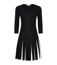 D.Exterior Pleated Two Tone Dress Female Black