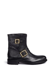 Jimmy Choo 'Youth' Buckle Leather Biker Boots Black
