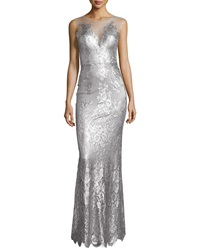 Catherine Deane Chloe Sleeveless Metallic Lace Gown