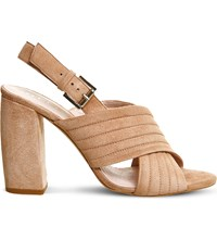 Office Americana Padded Suede Sandals Nude Kid Suede