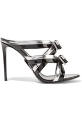 Nicholas Kirkwood Omi Bow Embellished Patent Leather Mules Silver