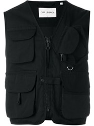 Our Legacy Cropped Sleeveless Military Jacket Black