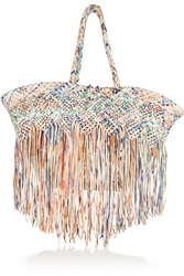 Finds Fringed Raffia And Leather Tote
