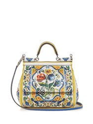 Dolce And Gabbana Sicily Majolica Print Small Leather Cross Body Bag White Multi