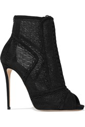 Dolce And Gabbana Embroidered Mesh Suede Peep Toe Ankle Boots Black