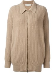 Stella Mccartney Collared Zip Up Cardigan Nude And Neutrals