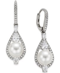 Eliot Danori Alhambra Silver Tone Glass Pearl And Cubic Zirconia Teardrop Earrings