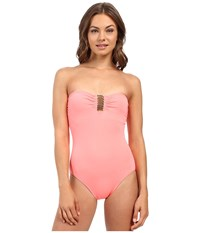 Vince Camuto Milos Solids Tube Band Maillot W Removable Soft Cups Coral Sugar Women's Swimsuits One Piece Pink