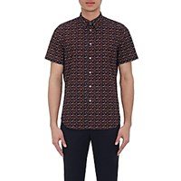 Paul Smith Ps By Men's Rose Print Short Sleeve Shirt Navy