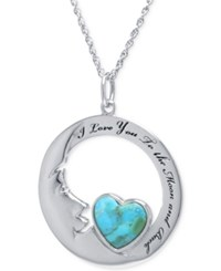 Macy's Turquoise Heart Moon Pendant Necklace 10Mm In Sterling Silver