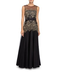 Tahari By Arthur S. Levine Metallic Embroidered Mesh Gown Navy Gold
