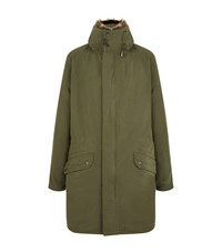 Yves Salomon Fur Trim Hooded Parka Male Green