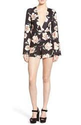 Women's Missguided Floral Print Plunge Romper