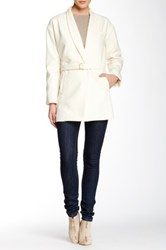 Shades Of Grey Collarless Judo Belt Wool Blend Coat White