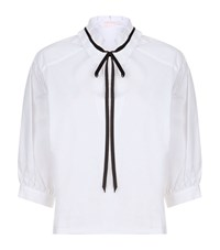 See By Chloe Tie Neck Crop Top Female White