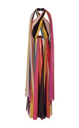 Elie Saab Striped Halter Neck Maxi Dress
