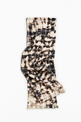 Urban Outfitters Uo Bleached Plaid Flannel Scarf Black Multi