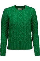 Etoile Isabel Marant Nilsen Cable Knit Wool Sweater Green