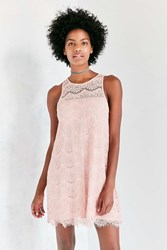Kimchi And Blue Sheer Yoke Mini Lace Shift Dress Blush