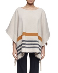 Chloe 3 4 Sleeve Striped Blanket Poncho Beige Beige Rust Nvy