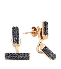 Bee Goddess Happy Lucky Blue Sapphire Earrings Female Rose Gold