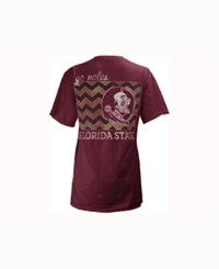 Pressbox Women's Florida State Seminoles Blocked Chevron V Big T Shirt Maroon