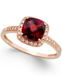 Macy's Garnet 2 1 4 Ct. T.W. And Diamond Accent Ring In 14K Rose Gold