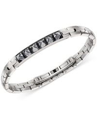 Swarovski Men's Stainless Steel Gray Crystal Bangle Bracelet Silver