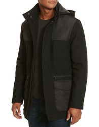 Kenneth Cole Hooded Wool Blend Coat Black Combo