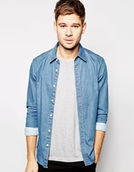 Asos Stretch Shirt In Long Sleeve With Mid Wash Denim Midwash