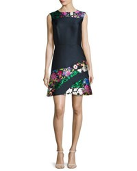 Oscar De La Renta Patchwork Sleeveless A Line Dress Navy Multi