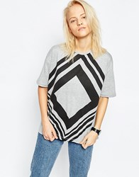 Asos T Shirt In Graphic Chevron Grey