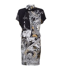 Roberto Cavalli Printed Jersey Ruffle Collar Dress Female Black