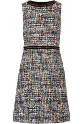 Boutique Moschino Grosgrain Trimmed Boucle Tweed Dress Black