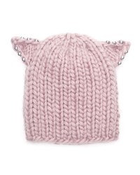 Eugenia Kim Felix Knit Beanie Hat W Beaded Cat Ears Rose