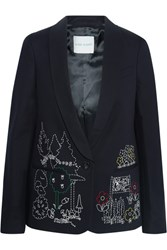 Mira Mikati Dot To Dot Embroidered Cotton Blend Twill Blazer Black